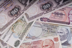 混杂的里拉钞票20世纪70年代 免版税库存照片
