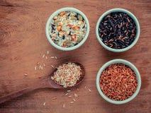 混杂的整个在匙子和碗的五谷传统泰国米是 图库摄影
