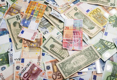 混杂的货币 图库摄影