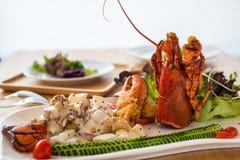 混杂的水果沙拉龙虾 免版税图库摄影
