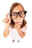 混淆的书呆子女孩 免版税图库摄影