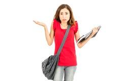 混淆的女学生 免版税库存照片