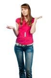 混淆的妇女年轻人 免版税库存照片