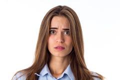 混淆的查找的妇女 免版税图库摄影