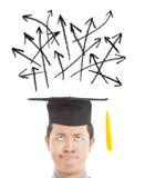 混淆的毕业生查找的方向箭头 库存图片