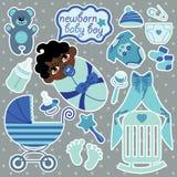 混血儿新出生的男婴的逗人喜爱的元素 免版税库存照片