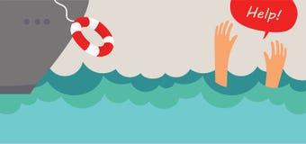 淹没人尖叫为帮助 夏天危险 免版税库存照片