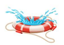 淹没的抢救救生圈在水 免版税库存照片