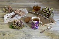清凉茶和混合药剂在一张木桌上 免版税库存照片