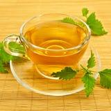 清凉茶用在一张竹席子的荨麻 免版税库存照片