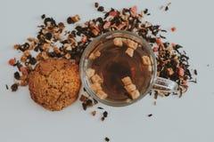 清凉茶用蔓越桔、苹果、姜、柠檬、桂香和麝香草在玻璃 温暖的茶,健康果子被灌输的茶 库存图片