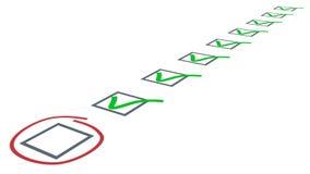 清单。绿色在复选框滴答作响 免版税图库摄影