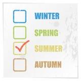 清单和指示季节 库存图片