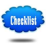 清单在盘旋的蓝色云彩的正文消息 免版税库存图片