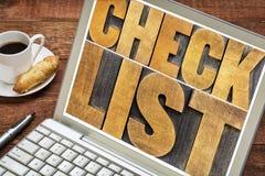 清单在膝上型计算机的词印刷术 免版税图库摄影