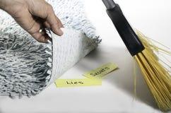 清扫在地毯下 免版税库存图片