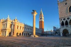 清早在圣Marco广场,威尼斯,意大利 图库摄影