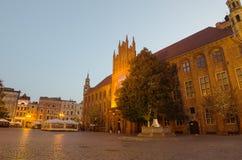 清早在托伦,波兰老镇  库存图片