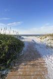 清早木板走道向墨西哥湾在佛罗里达 库存照片