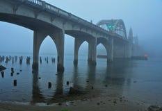 清早雾覆盖Siuslaw河桥梁 免版税库存图片