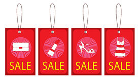 清楚的例证红色丝带销售额标签向量 免版税库存图片