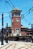 清楚的时钟纽瓦克nj岗位街道塔 免版税库存图片