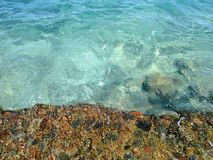 清楚的水,从防堤的照片 免版税库存图片