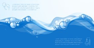 清楚的蓝色水流量 库存例证