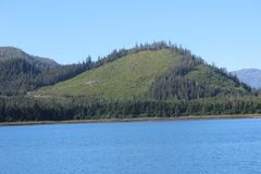 清楚被采伐的山在Wrangell阿拉斯加附近的夏天 库存照片