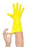 清洁手套现有量乳汁 库存照片