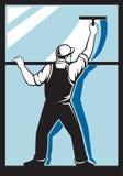清洁洗衣机洗涤的视窗工作者 库存例证