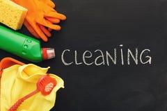 清洁物品和产品家庭整理的 免版税库存图片