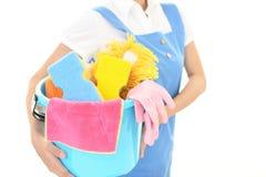 清洁物品妇女 免版税图库摄影