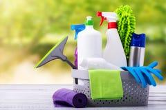 清洁物品的概念必要春季大扫除 免版税库存图片