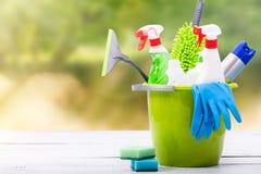 清洁物品的概念必要春季大扫除 免版税库存照片
