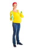 清洁玻璃孕妇 图库摄影