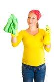 清洁玻璃孕妇 免版税库存图片