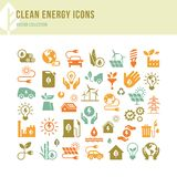 清洁能源象做了在一个平的样式和隔绝在白色背景以各种各样的颜色 向量例证