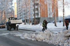 清洗人雪街道技术 免版税库存照片