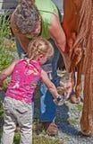 清洗帮助马鞋子小孩妇女 库存图片