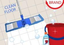 清洗干净的砖地的拖把发光 洗涤的地板和桶的杀菌剂擦净剂 向量 皇族释放例证