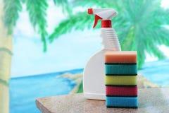 清洗房子和mitting的商品清洁产品 库存图片