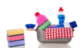 清洗的五颜六色的设备 免版税库存照片