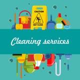 清洗的提供清洁服务或膳食的公寓模板 向量例证