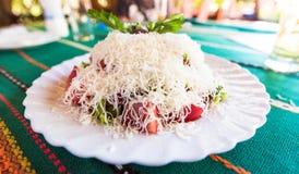 清淡的夏天沙拉(保加利亚语Shopska Salata) 免版税库存图片