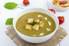清淡的素食主义者菠菜奶油汤用在一个碗的酥脆油煎方型小面包片在白色背景 库存图片