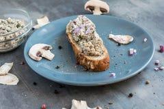 清淡的蘑菇传播用草本和豆腐在新鲜的自创酥皮点心 库存图片