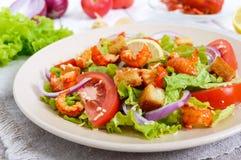 清淡的鲜美沙拉用癌症的肉,虾,莴苣,大蒜油煎方型小面包片,蕃茄,红洋葱 免版税库存图片