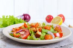 清淡的鲜美沙拉用癌症的肉,虾,莴苣,大蒜油煎方型小面包片,蕃茄,红洋葱 库存照片
