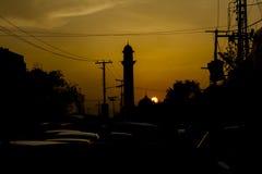 清真寺剪影在拉合尔,巴基斯坦 库存图片
